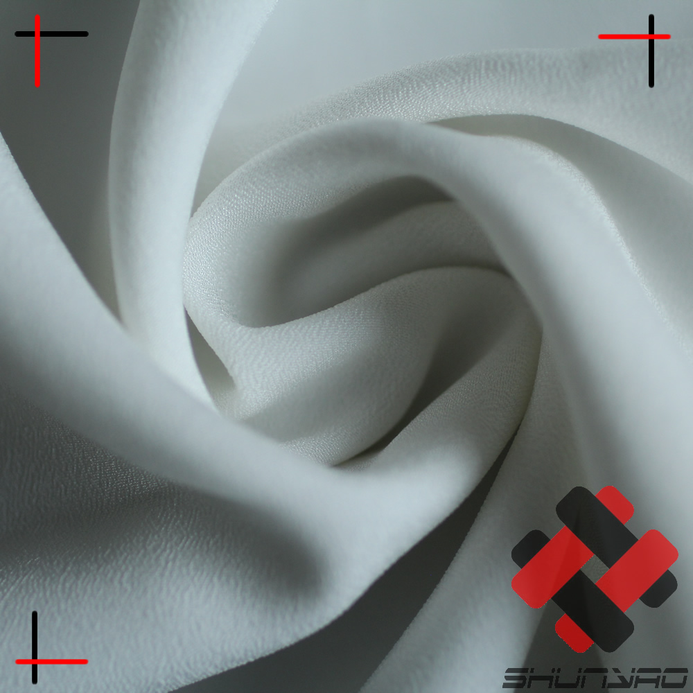 white color pfp / pfd polyester crepe de chine fabric poly CDC ready for digital print