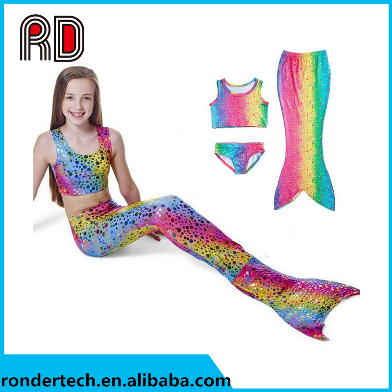 Hot selling Girls Swimmable Mermaid Tail Sea-maid Bikini Sets Swimwear Swimsuit