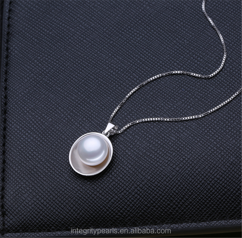 Pearl pendant jewelry 9mm AAA simple design freshwater white pearl pendant