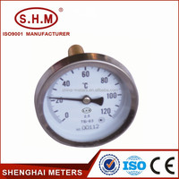 low price hot water pipe small round dial bimetal thermometer water heater