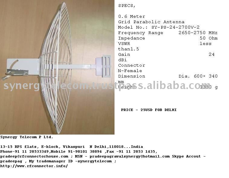 24DBI NF 2650-2750 MHz WIMAX PARABOLIC ANTENNA