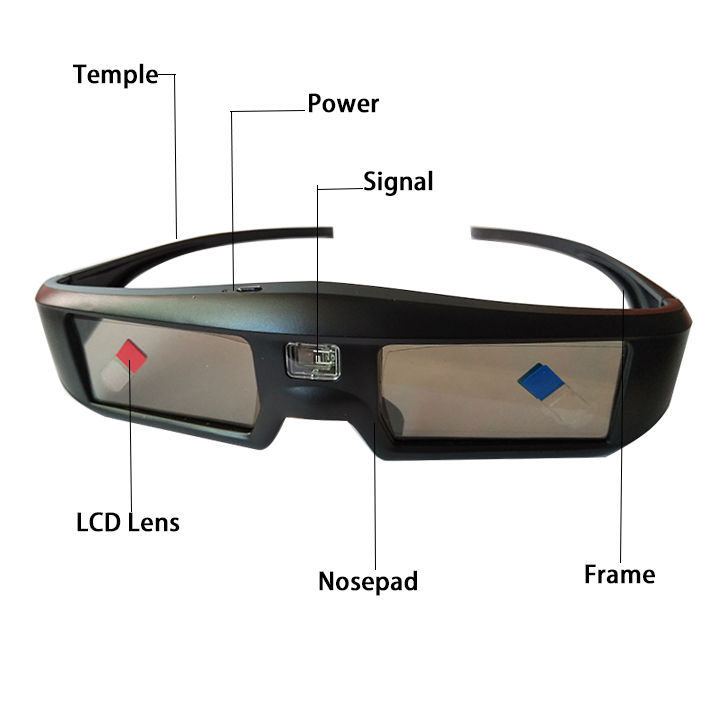 Rechargeable Cheap dlp link 3d active shutter glasses for watching movies