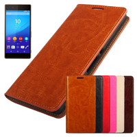 New Luxury oil Side Wallet Leather Case For Sony For Xperia Z3Plus Z3+ Phone Back Cover With Card Holders CA232