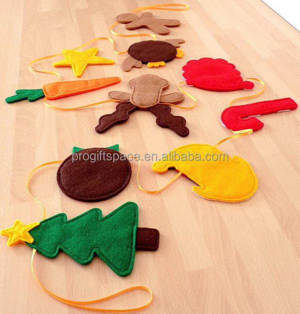 2017 new design hot handmade craft wholesale fabric gift felt deer/star/hat/candy cane/pudding ornaments Christmas tree garlands