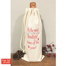Eco friendly hot sale natural color 100%cotton drawstring single pack custom Recycle Wine Bags