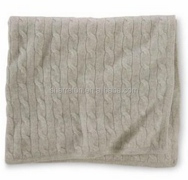 wholesale 12gg cashmere cable knitted blankets throw for babies