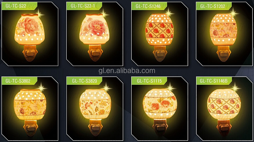 ETL  CE SAA BS ceramic decoration traditional sensor and switch porcelain night light and bulb with 110V and 220V and 5 or 7 W