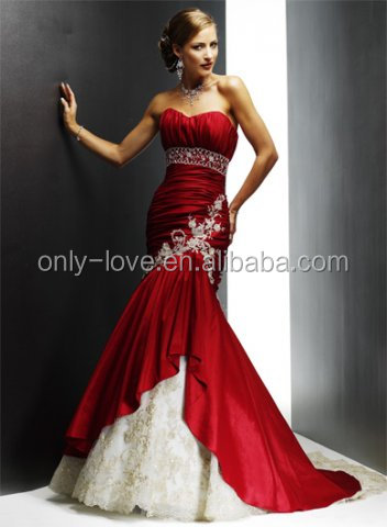2016 red sweetheart neckline applique mermaid wedding dress bridal gown OLW1518
