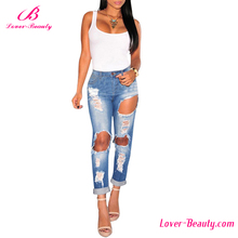 New model light blue hollow out women ripped jeans pants