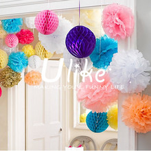 High quality wholesale round hanging paper lanterns tissue paper craft honeycomb flower ball for wedding party home decoration
