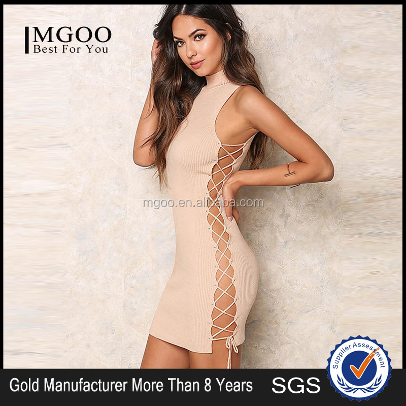 2016 Women Club Sexy Wearing Party Dress Peach Side Up Ribbed Dress Nude Color Plain Mini Dress