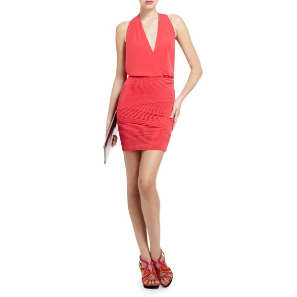 SPAGHETTI STRAP DRAPED COCKTAIL FASHION DRESS
