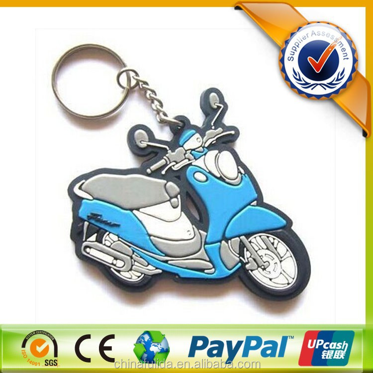 Custom Decorative 2D Motorcycles Rubber Keychains