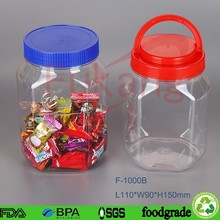 1 Litre Plastic Food Storing Plastic Bottle PET Plastic Honey Bottle for Packing Cookie/Honey/Suger with Screw Cap