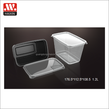 clear plastic disposable microwave food container 1.2L disposable tableware wholesale