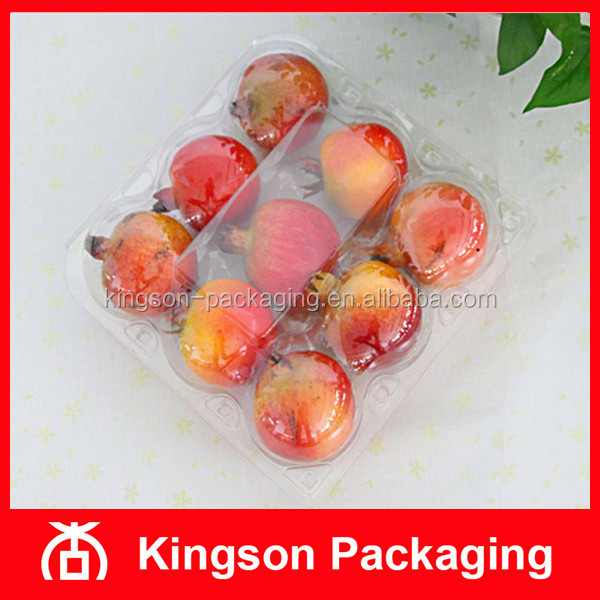 PET 9 Compartment Clear Plastic Box for Pomegranate Orange Fruit