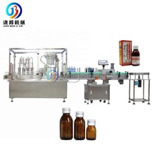 JB-YG4 Automatic bottle filling capping and labeling machine,30-500ml syrup filler