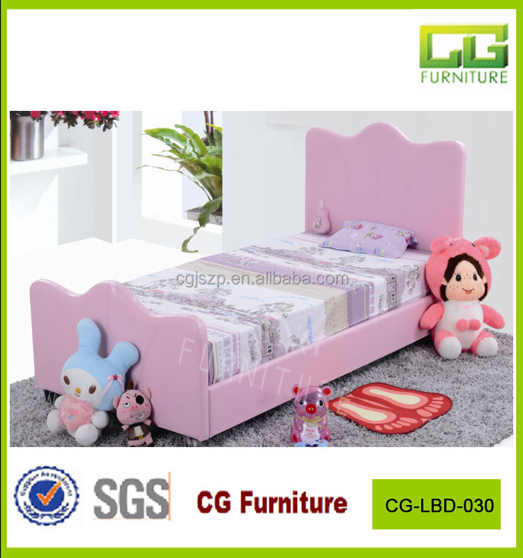Sweet pink color children leather bed for girls
