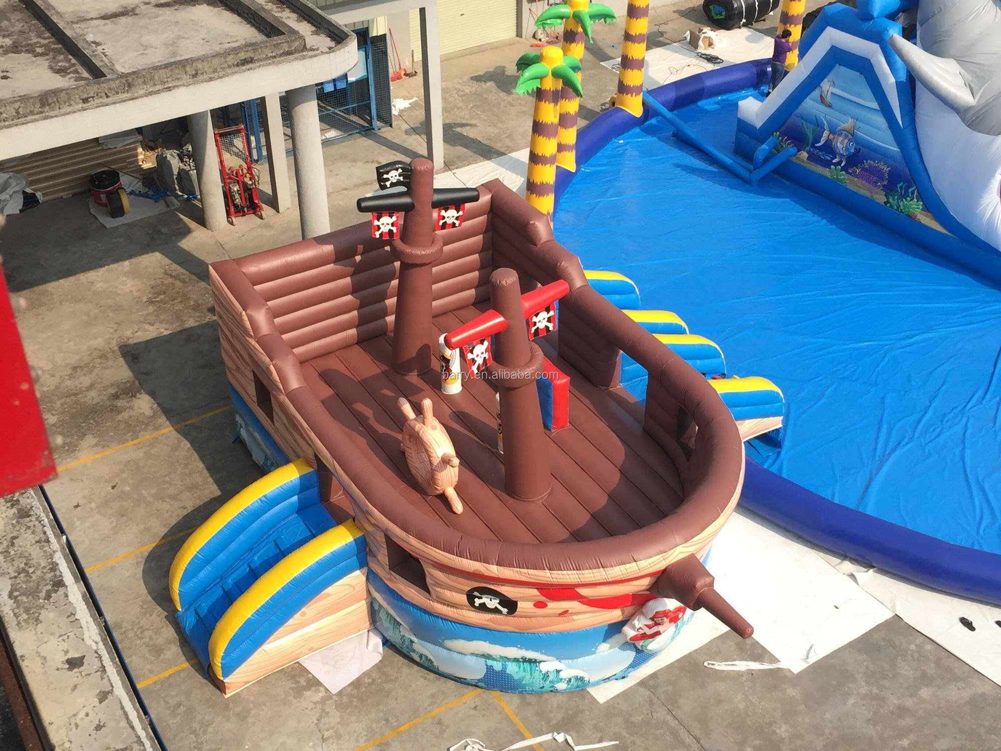 commercial inflatable water slide pirate ship slide and shark water park, gaint inflatable water park with mini slide