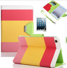 Popular luxury Colourful PU Leather Wallet Flip Cover Case For iPad 2 3 4 Mini Air shockproof Drop resistance Anti-Dust
