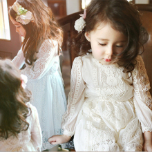 Japanese Girl Fashion Children Girls Long Sleever Spring Maxi Lace Net Dress
