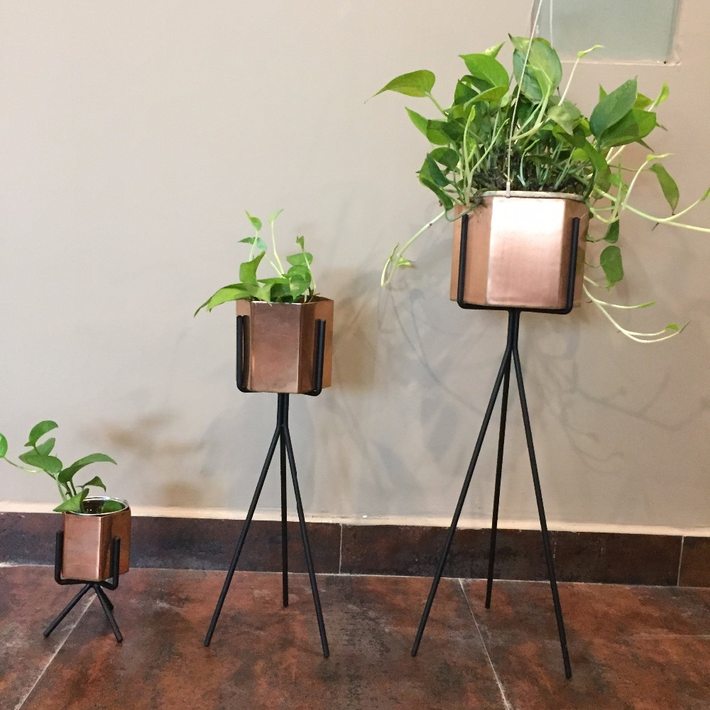 Unique aesthetic pure brass plant stand container hot sale