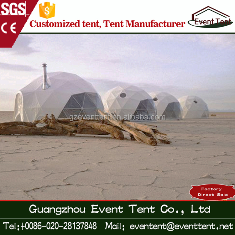 White color desert geodesic dome tent keeping away sand