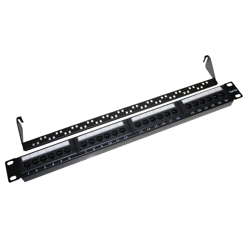 "110-idc 1 <strong>u</strong> <strong>19</strong>"" cat5e utp 24 port patch panel with back bar"