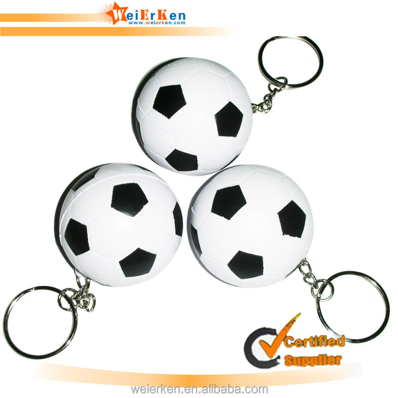 world cup pu foam toy keychain customized stress ball keychain