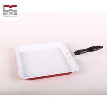 FDA LFGB white ceramic non-stick carbon steel iron metal square grill beef fry pan