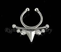 Silver Crystal Non Piercing Nose Ring Hoop Clip On Fake Septum Clicker