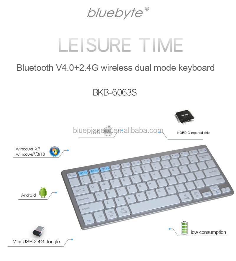 Ultra-slim Mini Bluetooth 4.0 Wireless Aluminum Keyboard for Macbook iPad Android Tablet Win7