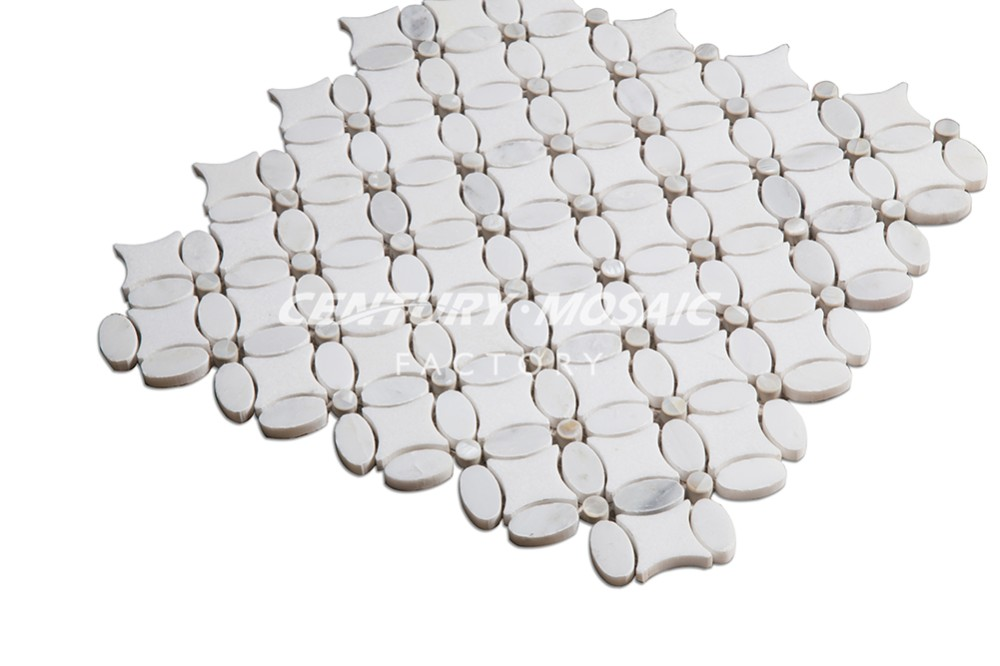 flower pattern white marble and shell mosaic tile