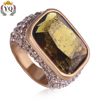 RYQ-00333 engagement ring gold plated large stone gemstone jewelry finger ring artificial emerald rhineatone crystal ring