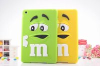3D Cute cartoon Kids MM Chocolate Beans Silicone Case for ipad mini 1/2/3, 200pcs/lot