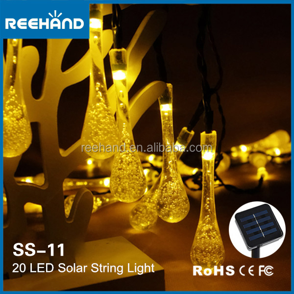 Free Shipping 20 LED Water Drop Solar String Light Outdoor Decoration Holiday Lighting