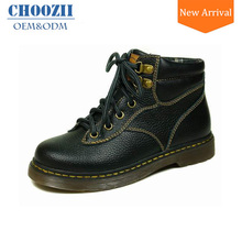 Choozii Trendy Black Cow Leather Children Shoes Boys Martin Boots