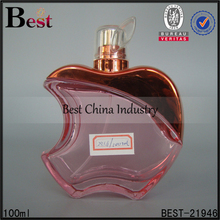 fine quality cute apple shaped pink clear glass bottle aluminum spray empty perfume glass bottle 100ml