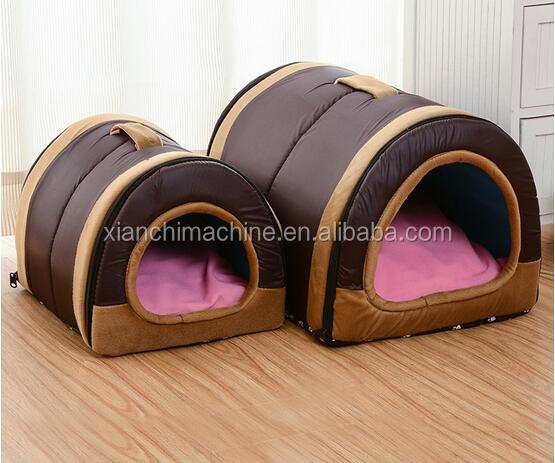 xianchi luxury fake fur brown cubic covered dog beds and dog house