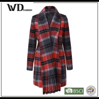 The latest long winter coat with classic check designs for women