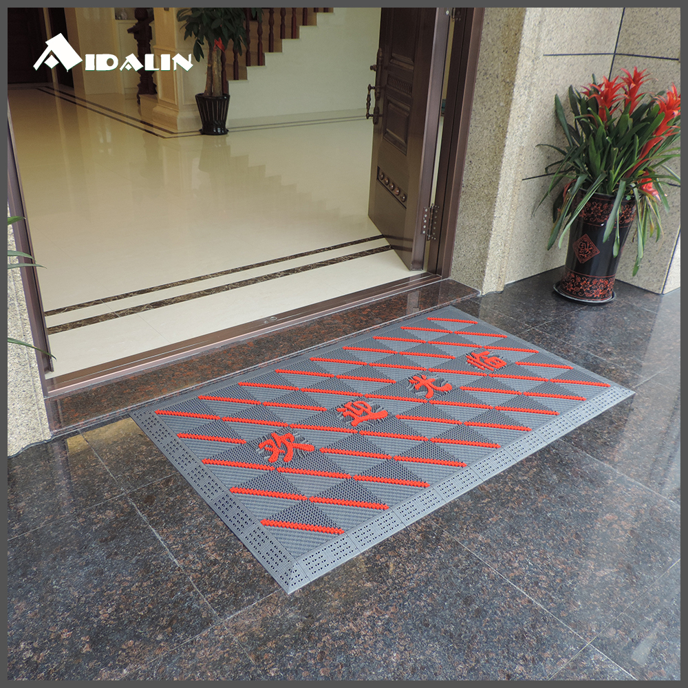 Durable red outdoor rubber ground protection mat