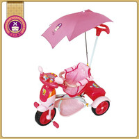 Three Wheeled Best Baby Pink Pushing Tricycle With Basket