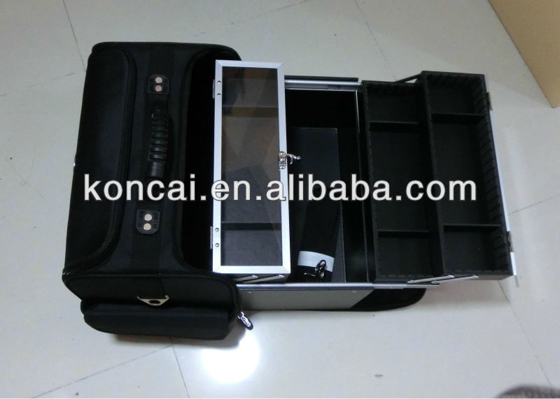 Professional nylon soft cosmetic case,ballistic nylon case,with 4pcs trays inside pull out 2 sides.