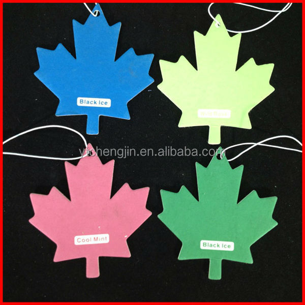different colors double sides printed maple leaf car paper air freshener