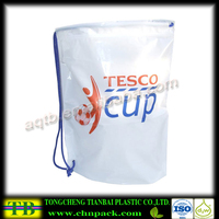 Duffle Style Carrier Bag Plastic Drawstring Shopping Bags