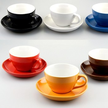 280cc 10oz 12pcs Color Glazed Logo Decal Design Customized Ceramic Porcelain Coffee Tea Cups Sets