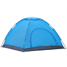 Convenient hand build 3-4 people double-layer double doors Fiberglass pole tarp tent