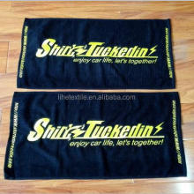 cheaper price 15x25 cotton black hand towel with logo