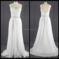 High Quality Strapless Elegant Chiffon Wedding Dress 2017 Embroidery Bridal Dress