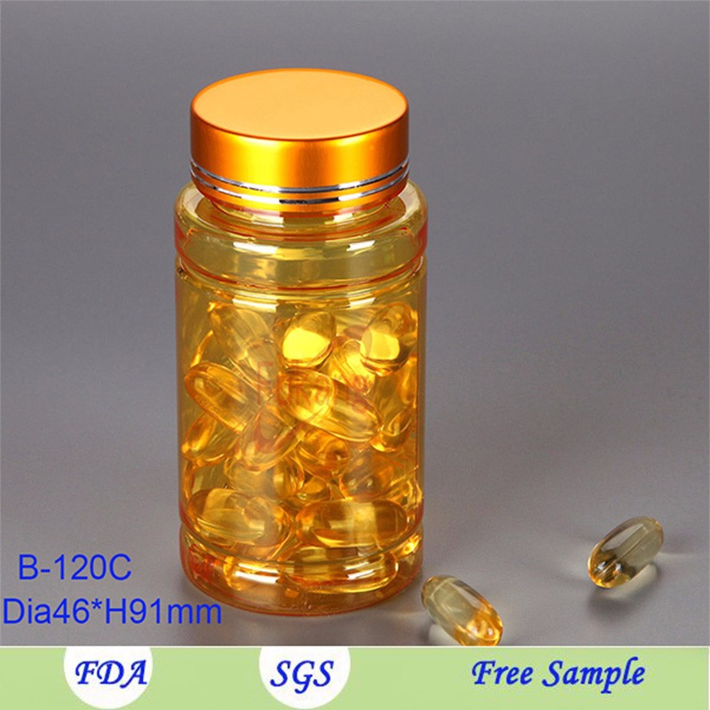 clear cylinder container 120cc,amber acrylic capsule plastic bottle